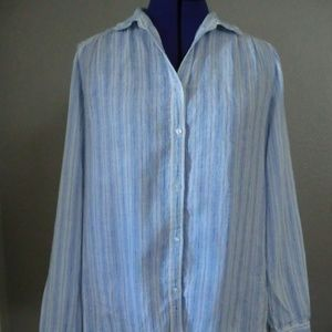Charter Club Blouse 100% Linen Button Down Size M